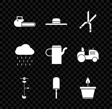 Set Chainsaw, Worker hat, Gardening handmade scissors, Grass weed electric string trimmer, trowel spade shovel, Plant pot, Cloud with rain and Watering can icon. Vector