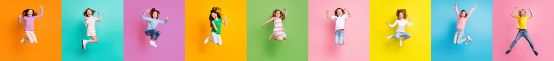 Obraz Collage photo of diversity racefriendly little kids boys girls jumping up win shopping discounts isolated over colored background - fototapety do salonu
