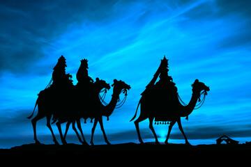 Trzej królowie w drodze do stajenki bożonarodzeniowej