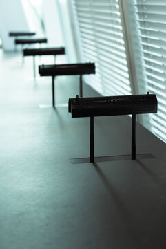 Empty table in a modern library. Forum, Groningen.
