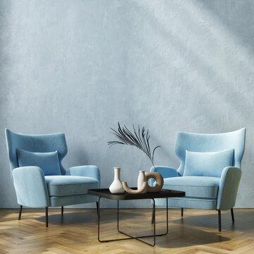 Living room interior in loft, blue background plaster, mockup interior, 3d render