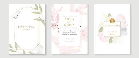 Autumn wedding invitation card vector.  Luxury background design  with golden texture, Flower and botanical leaves watercolor hand drawing. Abstract art cover design for wedding and VIP invite card.