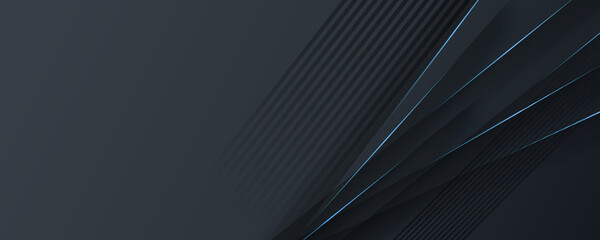 Black banner background. Luxury elegant simple black grey wallpaper. abstract technology black background with lights. Close up of a black smooth light gradient background