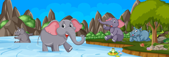 Forest panorama at daytime scene with many elephants cartoon character