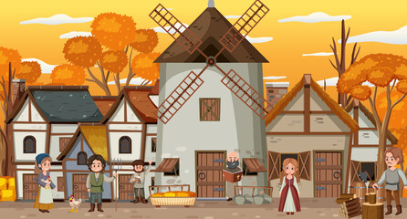 Medieval town at sunset time scene with villagers