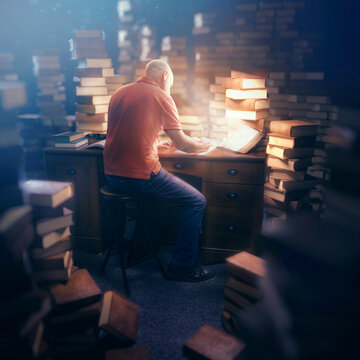 Man in deep study