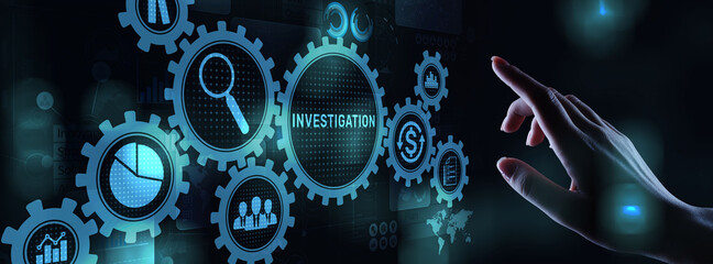 Obraz Investigation inspection audit business concept on virtual screen - fototapety do salonu