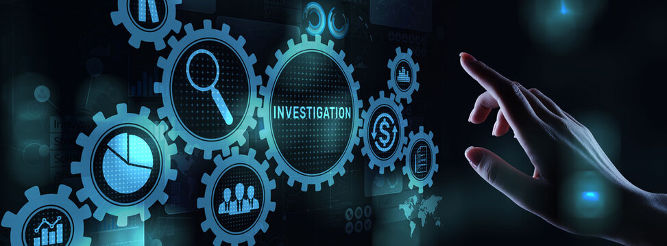 Investigation inspection audit business concept on virtual screen