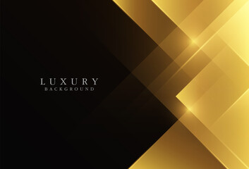 Luxury gold gradient geometric shapes on black background. Modern simple triangle shapes creative design with space for your text. Golden geometric vector with light effect. Vector illustration