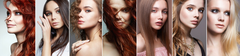 Obraz collage of beautiful women with Different Hairs - fototapety do salonu