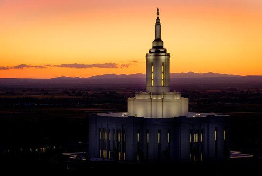 Pocatello Idaho LDS Mormon Temple with Lights at Sunset