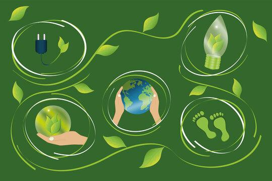 Konzept für saubere, Co2-arme Energieerzeugung mit verschiedenen Umweltsymbolen. Vektor