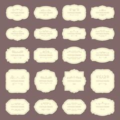 Obraz Vintage frame labels. Rectangle and oval wedding frames. Antique label with border vector set - fototapety do salonu