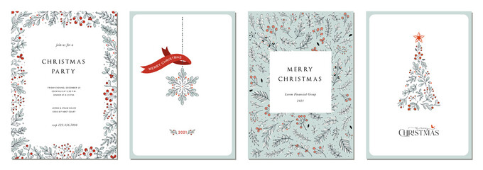 Merry Christmas and Happy Holidays cards with New Year tree, snowflake, floral frames and backgrounds. Ornate modern universal artistic templates.