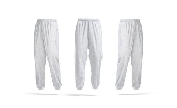 Blank melange sport sweatpants mockup, front and side view