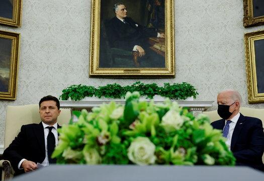 U.S. President Biden welcomes Ukraine's President Zelenskiy at the White House in Washington