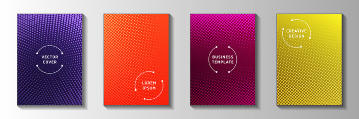 Cool circle perforated halftone cover page templates vector set. Industrial notebook faded halftone