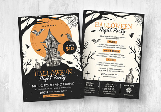 Halloween Flyer with Haunted House Illustration