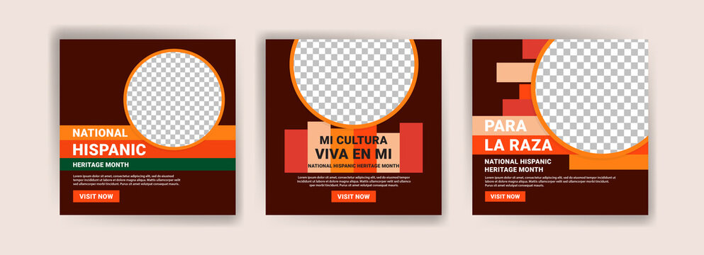 Hispanic heritage month. Banners for social media, cards, posters and postcards.