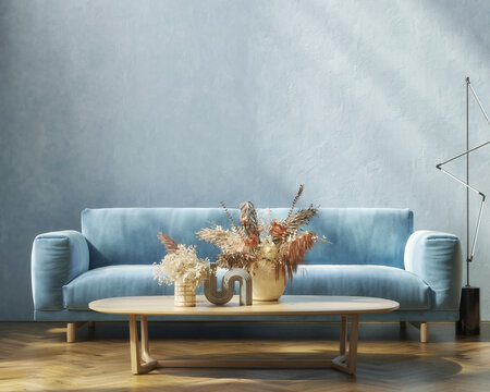 interior mockup design, Blue wall, sofa, and home decoration, living room, 3d render, 3d illustration