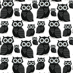 Owls pattern drawn with black lines. Drawing of birds, owl family. For printing on fabric.