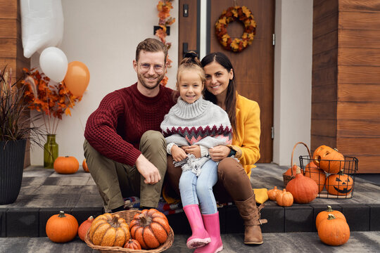 Portrait of smiling family during the Halloween