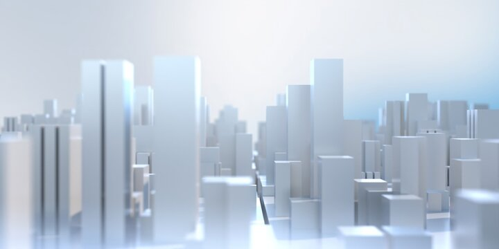 Abstract  geometric greeble cube background. City buildings model aerial view. 3d illustration