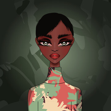 Vector avatar fashion illustration of a cute girl with dark skin wearing a turtleneck with autumn foliage pattern on muted green background.