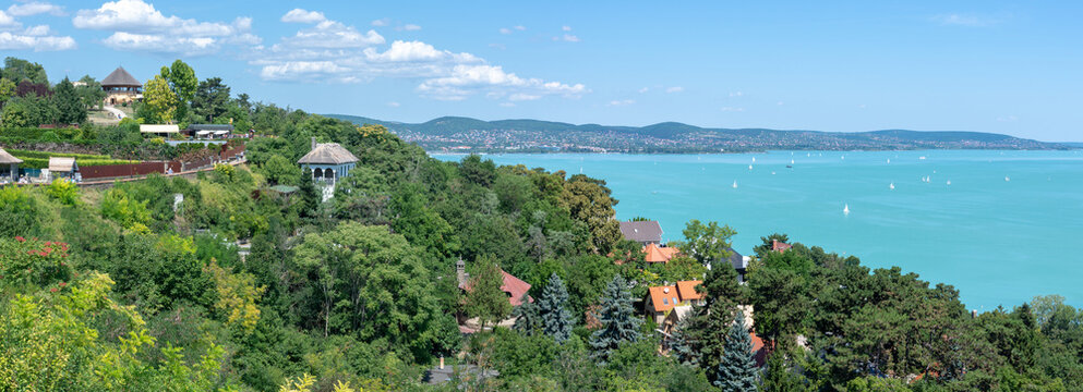 Panorama of Lake Balaton in Hungary from the slope in the village of Tihany