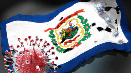 Covid in West Virginia - coronavirus attacking a state flag of West Virginia as a symbol of a fight and struggle with the virus pandemic in this state, 3d illustration