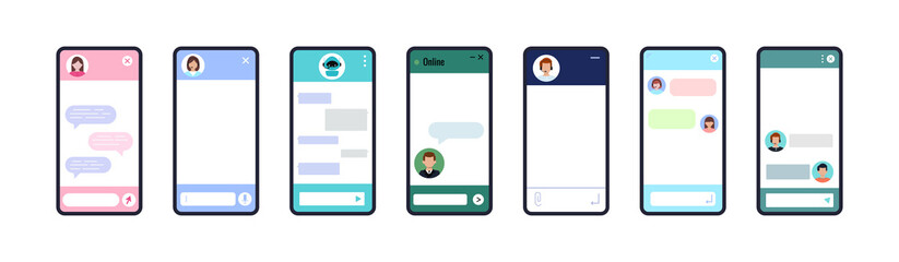 Fototapeta Chat bot dialoge windows on smartphone screen flat design set isolated. Ai robot chat online service concept. Vector illustration of talk interface with chatbot robot, people avatar, message bubble. obraz