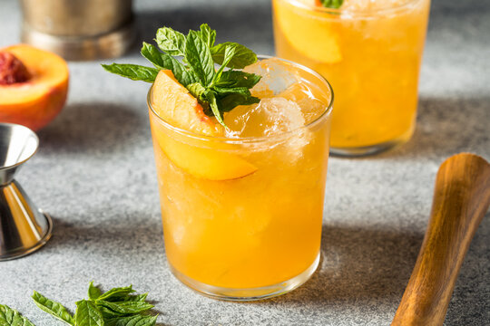 Boozy Refreshing Peach Bourbon Smash Cocktail