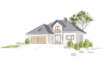 Fototapeta Architectural project exklusive detached house. Vector illustration. obraz