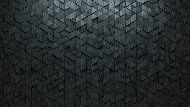 Semigloss Tiles arranged to create a 3D wall. Triangular, Concrete Background formed from Futuristic blocks. 3D Render