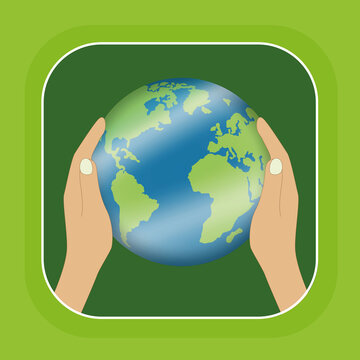 Umwelt Symbol: Hände halten unsere Erde fest. Vektor