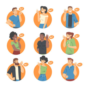 People Characters Saying Hello and Showing Hand Greeting Gesture Vector Illustration Set