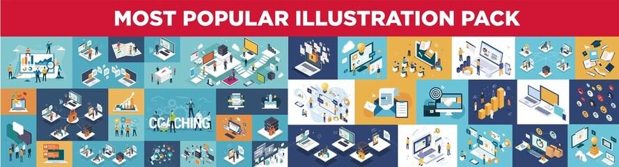 Most popular illustration pack : business, marketing, seo, network, teamwork, ...