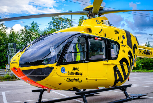 Tutzing, Germany - July 19: typical rescue helicopter of the ADAC in Tutzing on July 19, 2021