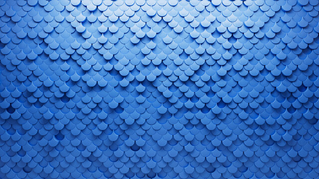 3D Tiles arranged to create a Semigloss wall. Fish Scale, Futuristic Background formed from Blue blocks. 3D Render