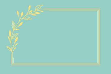 Szablon ramki z żółtymi listkami na zielonym tle. Tło do projektowania wizytówki, kartek urodzinowych, życzeń, gratulacji, wzór zaproszenia ślubnego, tło do social media lub na blog.