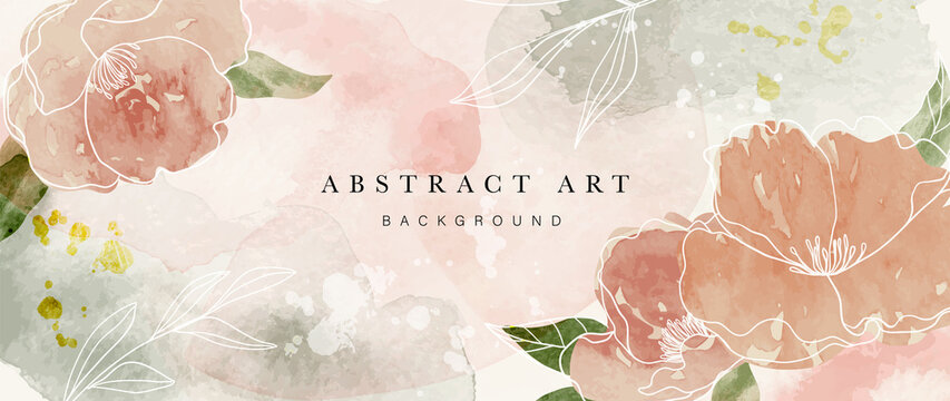 Autumn flower watercolor art background vector. Wallpaper design with floral paint brush line art. leaves and flowers nature design for cover, wall art, invitation, fabric, poster, canvas print.
