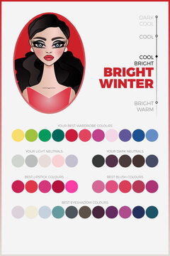 Seasonal color analysis palette for Bright Winter vector chart with arranged swatches. Cool coloring type for personal image making. Includes swatches of coordinated fashion industry colors.