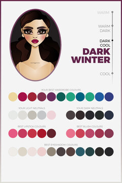 Seasonal color analysis palette for Dark Winter vector chart with swatches. Deep and cool coloring type for personal image making. Includes swatches of coordinated fashion industry colors.
