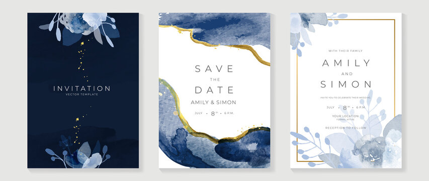 Blue and navy indigo floral and gold watercolor wedding invitation vector set. Luxury background and template layout design for invite card, luxury invitation card and cover template.