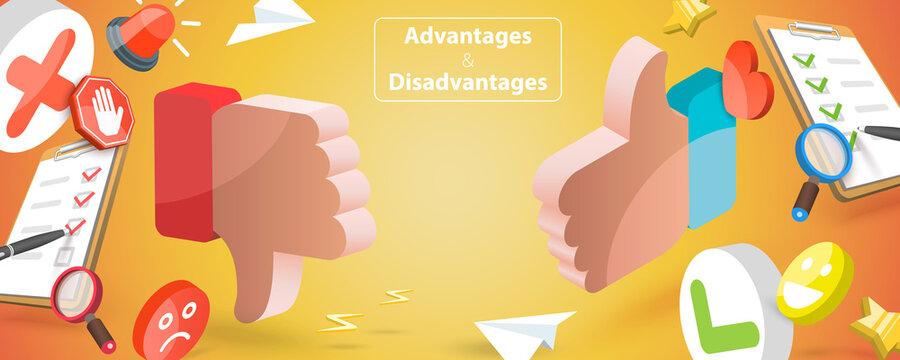 3D Vector Conceptual Illustration of Advantages And Disadvantages, Positive and Negative Arguments Consideration