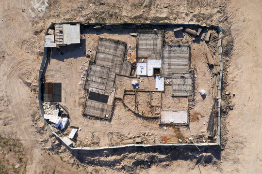 New suburban house at foundation stage, Aerial image.