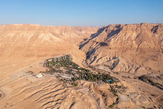 Aerial view of Kibbutz Ein Gedi oasis and nature reserve.