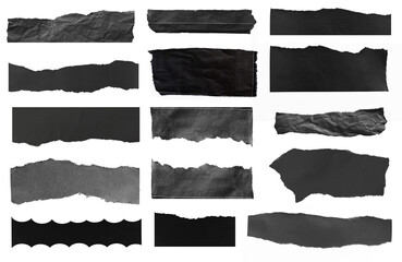 Collection of torn paper isolated on white background
