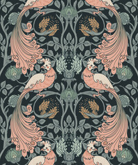 Obraz Floral vintage seamless pattern wit birds for retro wallpapers. Enchanted Vintage Flowers. Arts and Crafts movement inspired. Design for wrapping paper, wallpaper, fabrics and fashion clothes. - fototapety do salonu