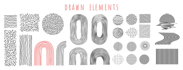 Fototapeta Vector illustration. Abstract pattern. Lines and dots. Scandinavian hand drawn design elements collection. Concept for design poster, cover, invitation, gift card, flyer, social media, promotion. obraz